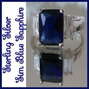 Jewelry - Sterling Silver Blue Sim Sapphire Ring
